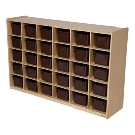 30-Tray Natural Mobile Storage Unit w/ Chocolate Trays
