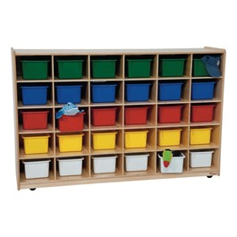 30-Tray Colorful Mobile Storage Unit w/ Assorted Trays - Natural