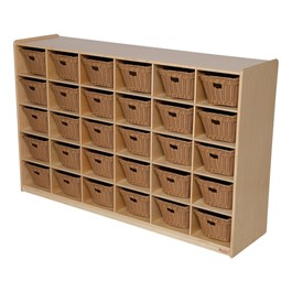 30-Tray Natural Mobile Storage Unit w/ Baskets