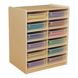 Three-Inch Letter Tray Mobile Storage Unit - 12 Cubbies w/ Clear Trays