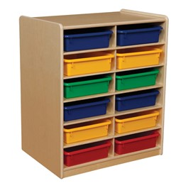 Three-Inch Letter Tray Mobile Storage Unit - 12 Cubbies w/ Assorted Trays