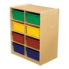 Five-Inch Letter Tray Mobile Storage Unit - Eight Cubbies w/ Assorted Trays
