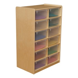 Five-Inch Letter Tray Mobile Storage Unit - 12 Cubbies w/ Clear Trays