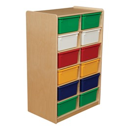 Five-Inch Letter Tray Mobile Storage Unit - 12 Cubbies w/ Assorted Trays