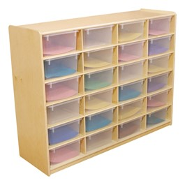 Five-Inch Letter Tray Mobile Storage Unit - 24 Cubbies w/ Clear Trays