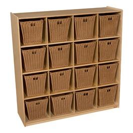 Natural Cubby Storage w/ 16 Medium Baskets