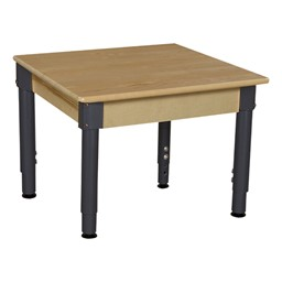 Square Hardwood Adjustable-Height Table w/ Chairs - Table