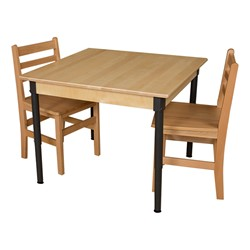 Square Hardwood Adjustable-Height Table w/ Chairs
