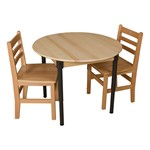 Round Hardwood Adjustable-Height Table w/ Chairs