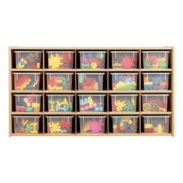 20-Tray Cubby Storage Unit w/ Clear Trays - Accessories not included