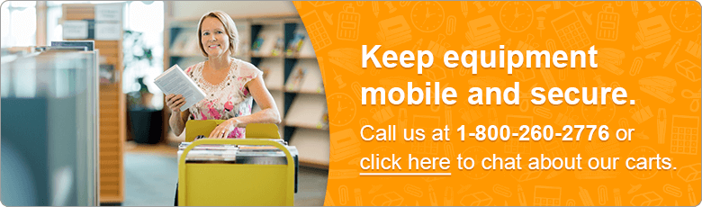Keep equipment mobile and secure. Call us at 1-800-260-2776 or click here to chat about our carts.