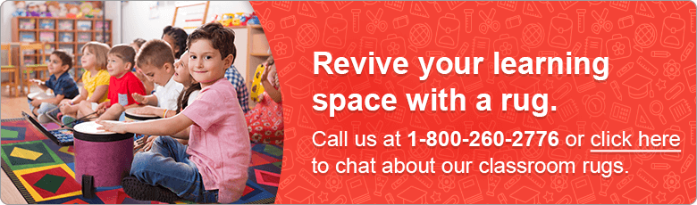 Revive your learning space with a rug. Call us at 1-800-260-2776 or click here to chat about our classroom rugs.