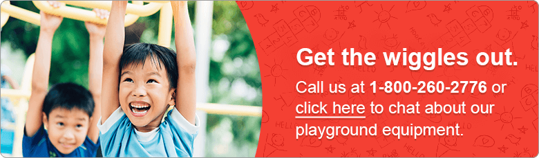 Get the wiggles out. Call us at 1-800-260-2776 or click here to chat about our playground equipment.